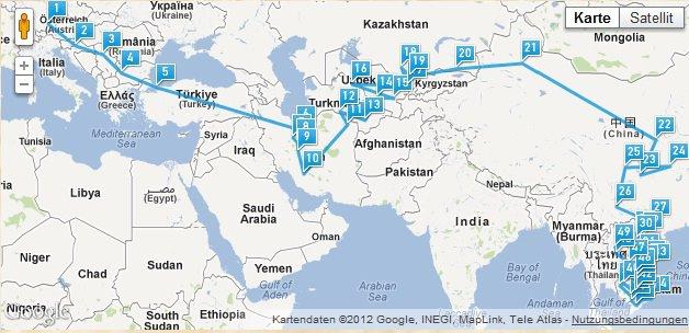 Route von Deutschland nach Südostasien