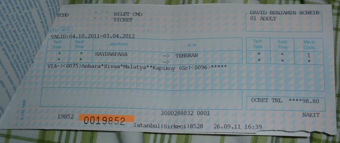 Fahrkarte für den Transasia-Express