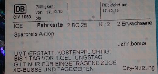 Sparpreis Aktion Fahrtkarte.