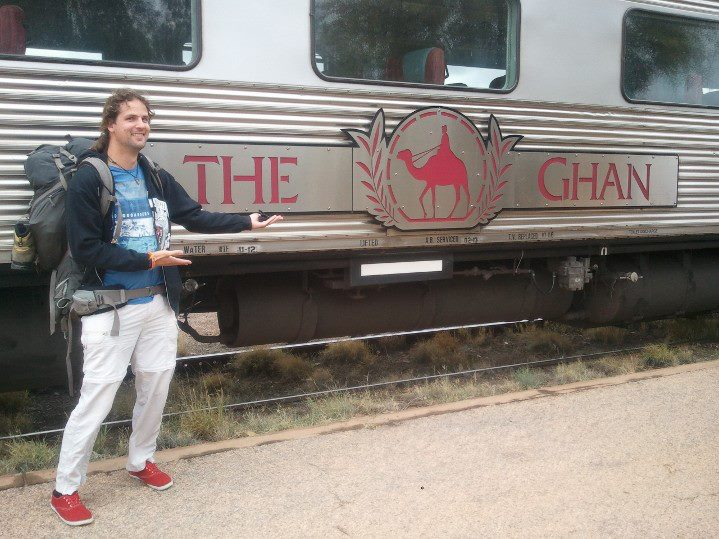 The Ghan: Am Bahnhof in Alice Springs, Australien.