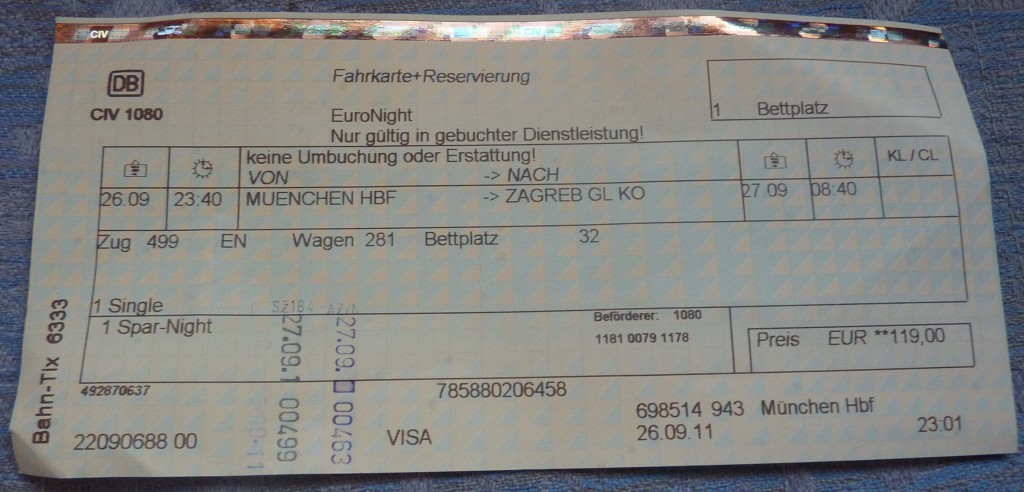 Mit dem Zug nach Kroatien: EN 499 von München nach Zagreb