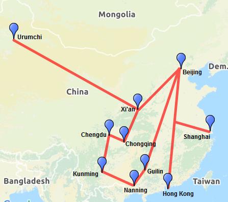 Eisenbahnnetz in China