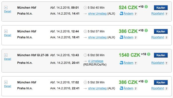 Zugticket für Prag ab 14 Euro