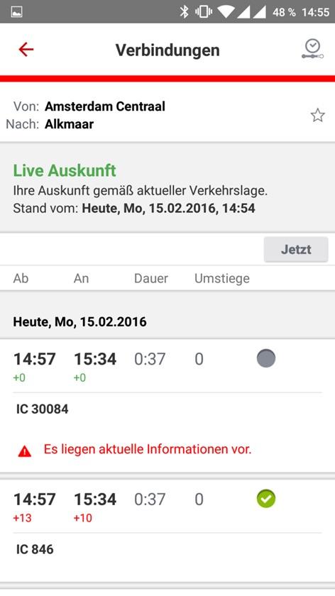DB Navigator mit Live-Daten zum Fahrplan