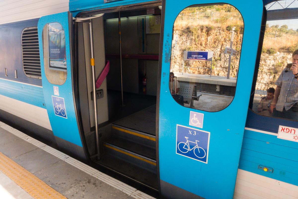 Fahrrad in der Bahn in Israel