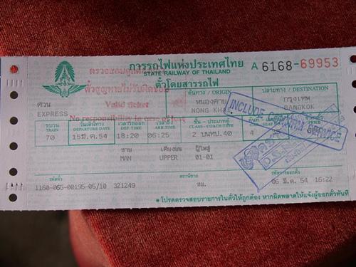 Zugticket Thailand Laos