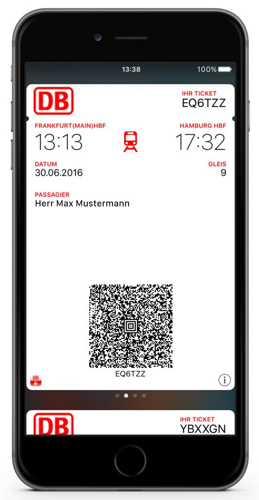 Apple Wallet Bahntickets