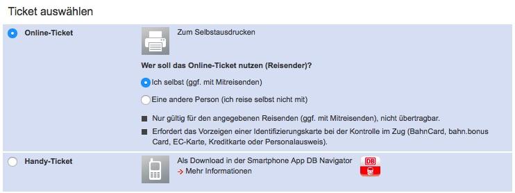 Online Ticket Identifizierung