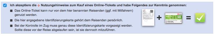Online Ticket Identifizierungskarte