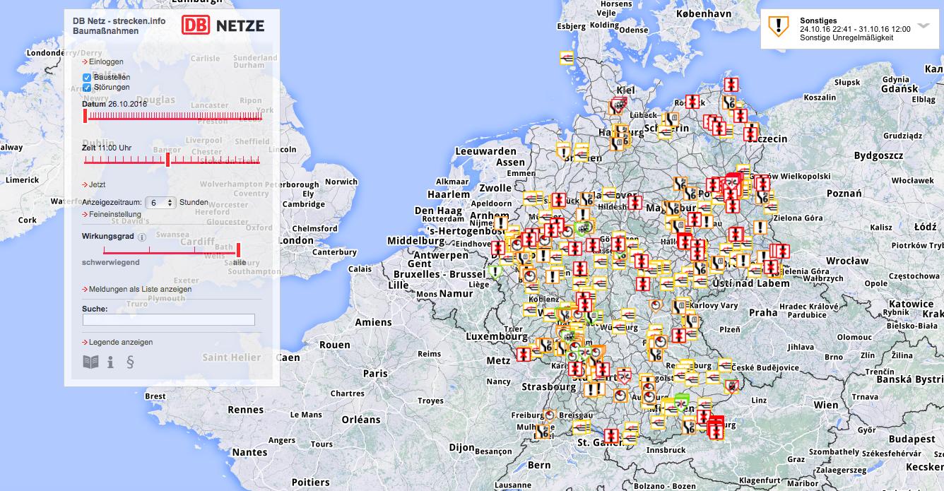 deutschland bahn karte strecken.info: Live Karte mit Bahn Bauarbeiten und Störungen | ZRB