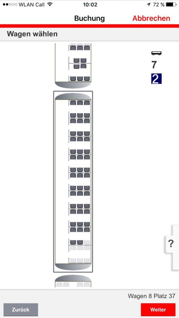 Sitzplatzreservierung DB Navigator