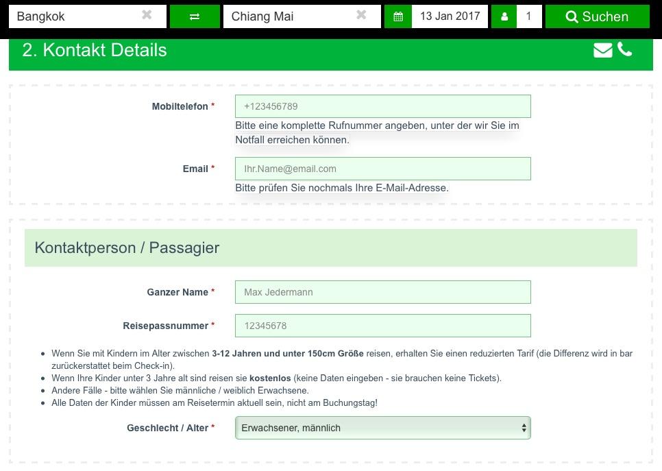 Thailand Ticket Online Buchung
