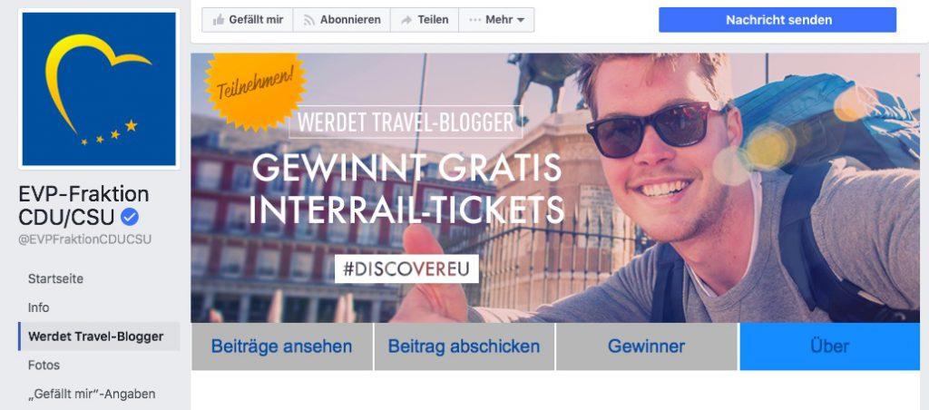 DiscoverEU Interrail Gewinnspiel