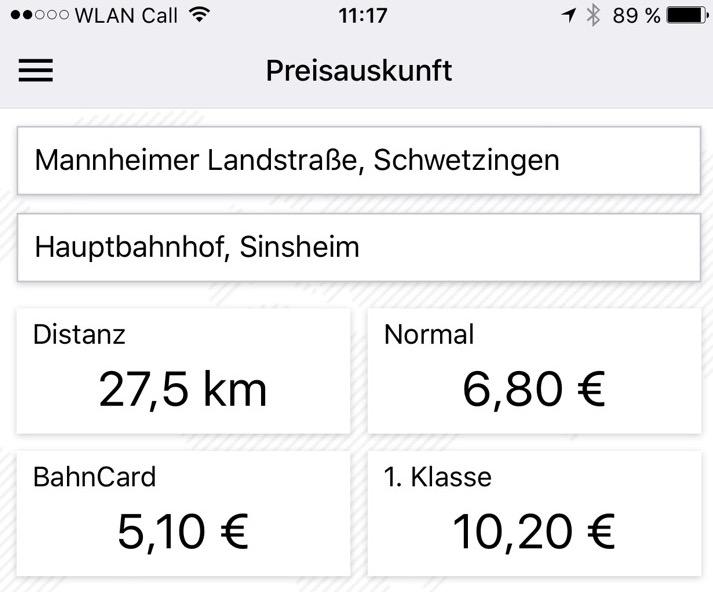 Luftlinientarif Preise
