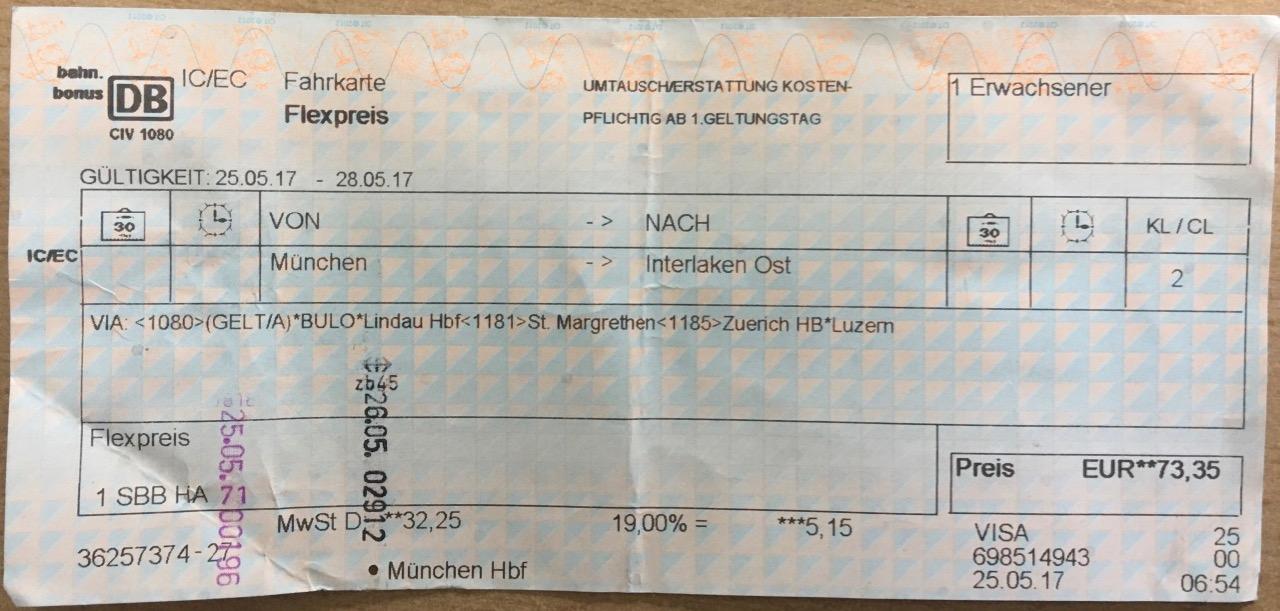 Golden Pass Line Fahrkarte