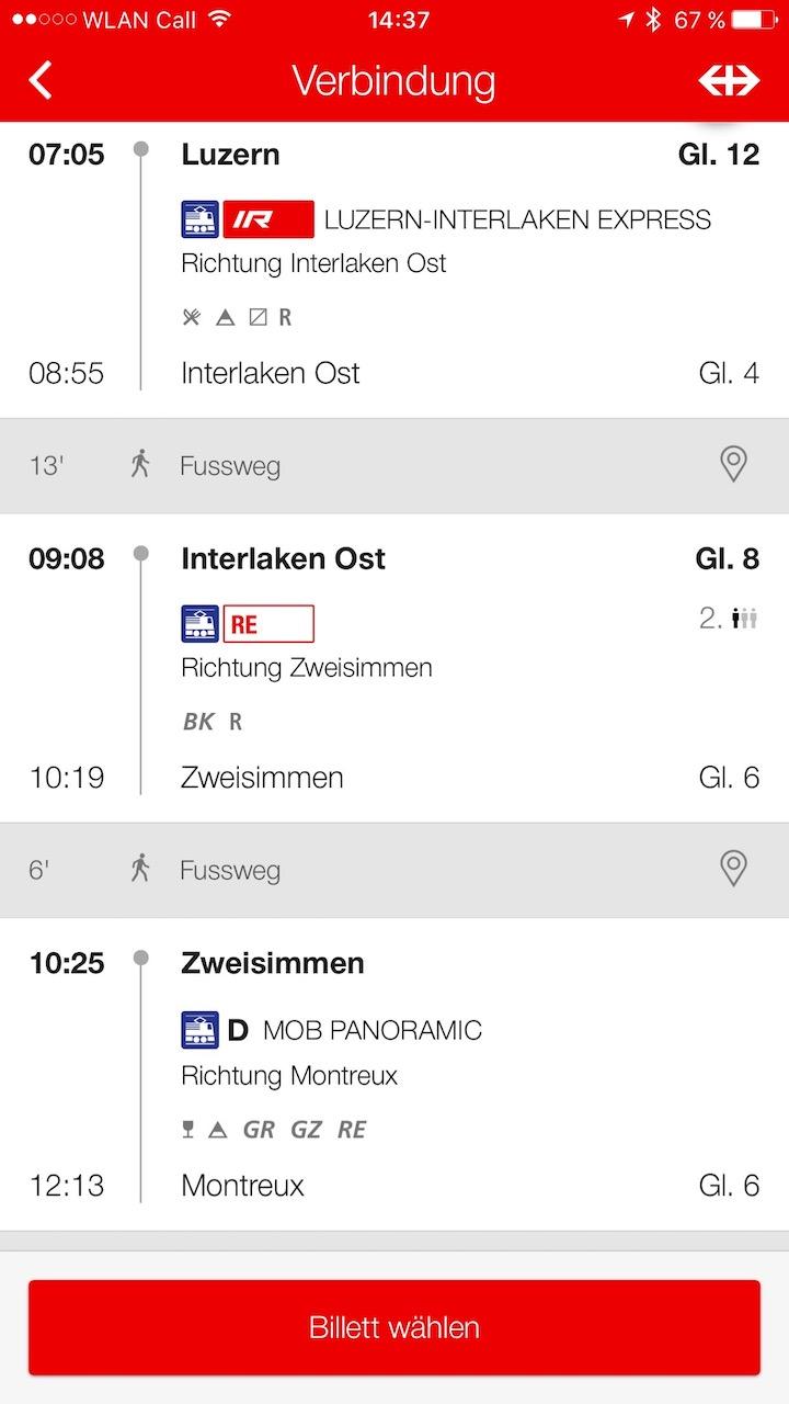 Online Ticket Luzern Montreux