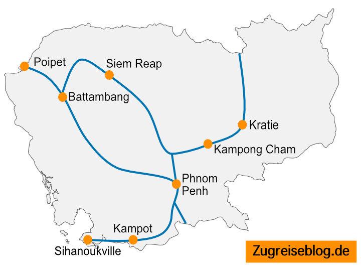 Kambodscha Zug Bus Routen