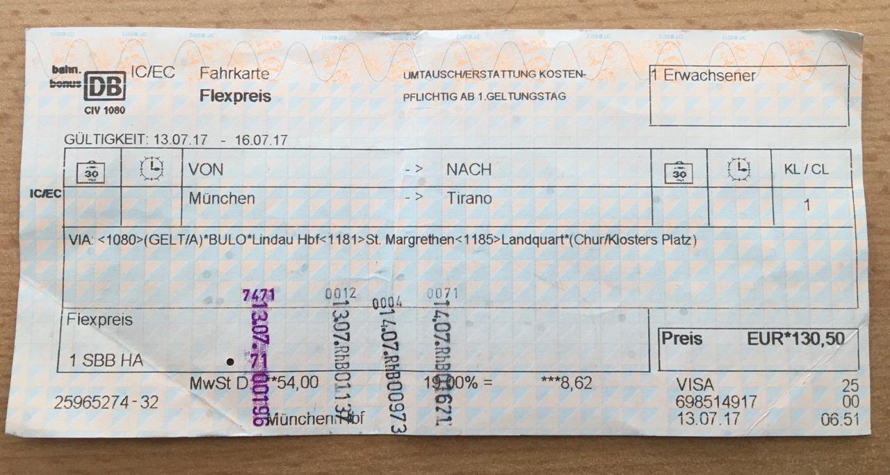 Berninabahn Zugticket