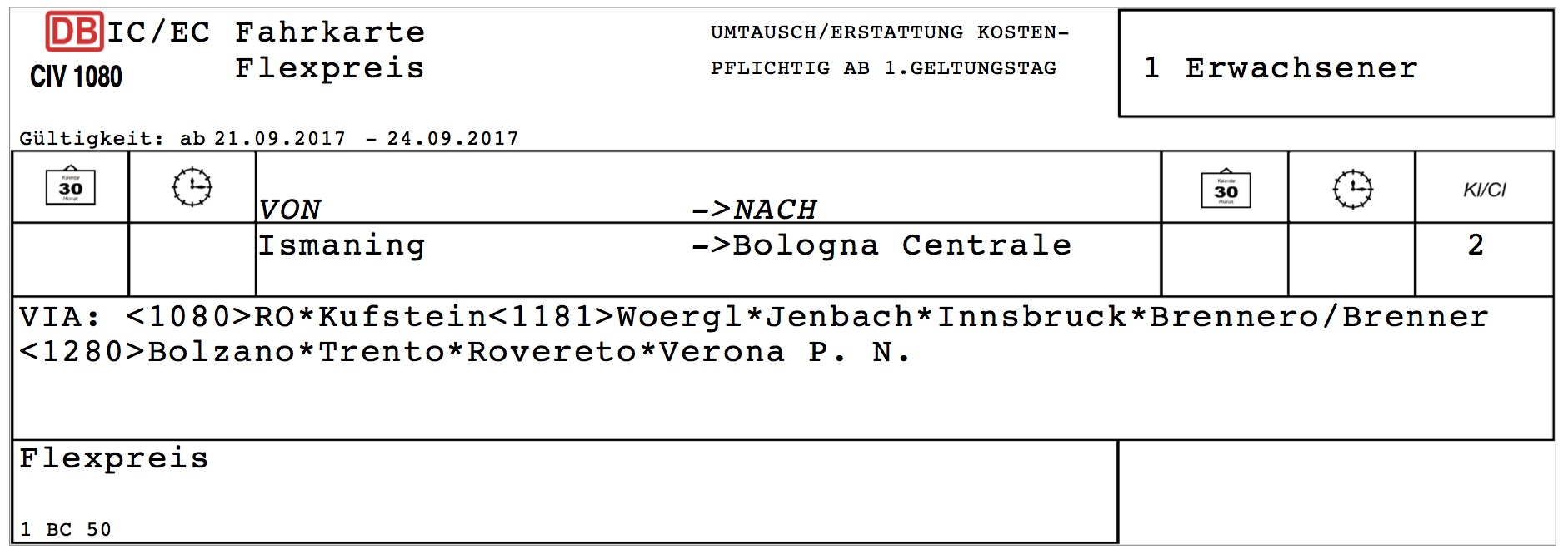 Ticket München Italien
