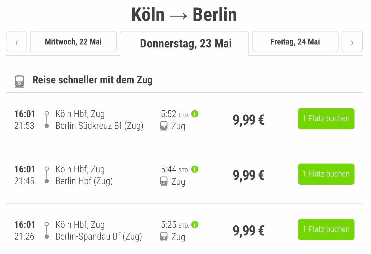 Flixtrain Tickets Köln Berlin